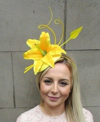 Yellow Quill Feather Lily Flower Pillbox Hat Fascinator Races Ascot Unique 5311