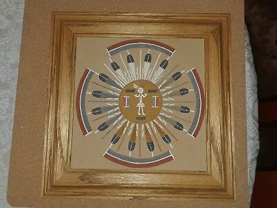 Vintage Native American Navajo Sand Painting SUN AND EAGLE signed Begay