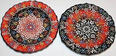 "Turkish 7"" Black Red Handmade Iznik Raised Floral Pattern Ceramic Plate SET of 2"