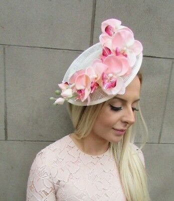 Cream Blush Light Pink Orchid Flower Sinamay Disc Saucer Hat Fascinator 5312 3c517e934e7