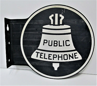 Vintage Bell Public Telephone Double Sided Metal Flange Sign