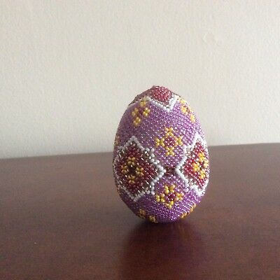 "Hand Beaded Easter Egg, Glass Seed Beads, 3"" tall"