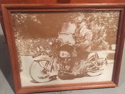 Harley-Davidson Motorcycle With Policeman Vintage Framed Print Antique Photo