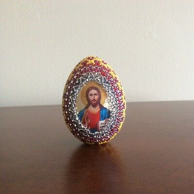 "Hand Beaded Easter Egg, Glass Seed Beads, 2.5"" tall"