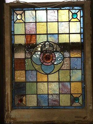 Jewel & Rondel Victorian Leaded Stained Glass Window 1880's 3 Feet Wow Tiffany