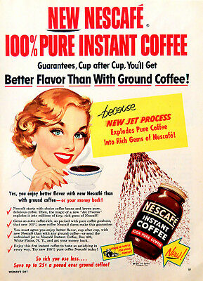 Vintage 1954 Nescafe instant coffee woman advertisement print ad art