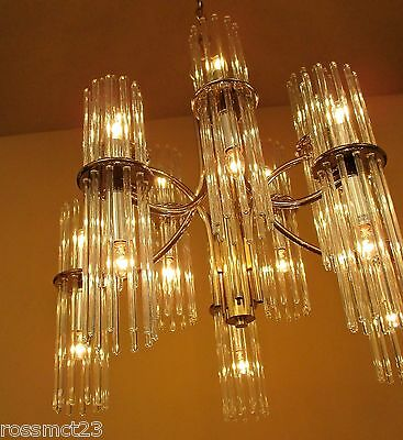 Vintage Lighting glamorous 1970s glass rod chandelier by Lightolier