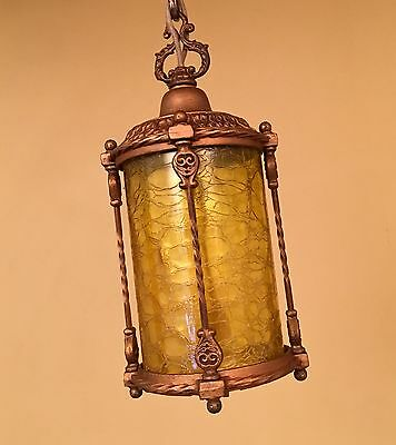 Vintage Lighting 1920s amber glass foyer pendant