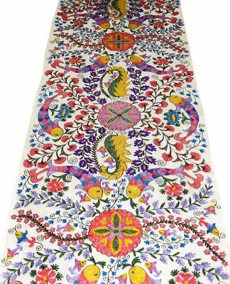 Uzbek Handcrafted Fully Silk Embroidered Cotton Suzani Fabric By Yardage A10824