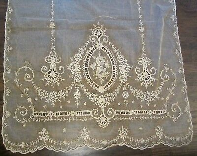 Antique Tambour Net Lace Embroidered Curtain Panel