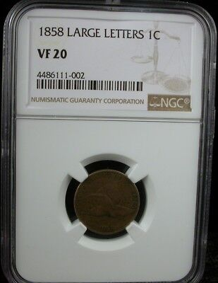 1858 Large Letters 1C Ngc Vf 20 1858 Flying Eagle Cent One Penny