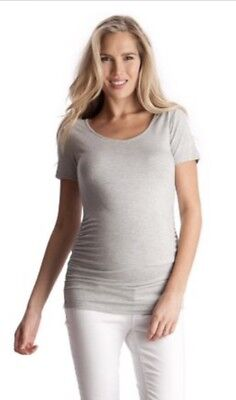 Seraphine - light grey ruched t-shirt (UK 16, but fits AUS size 12)