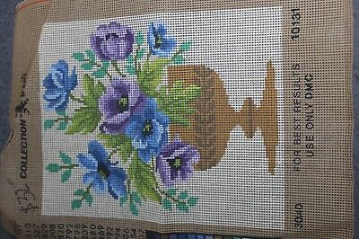 NEW Collection D'Art  TAPESTRY CANVAS - FLOWERS   30cm x 38cm