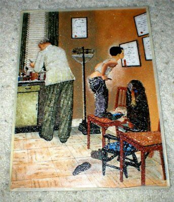 """Norman Rockwell - Rare Gem Stone Art - """"Doctor's Office - Before the Shot"""""""