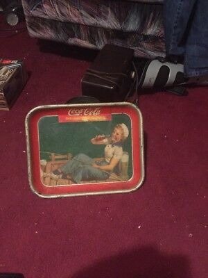 Vintage 1940 Coca Cola Tray  Made In Coshocton Ohio In Good Condition