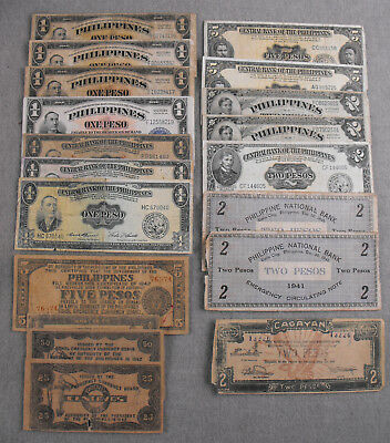 Philippines  Lot 1941-1949 Victory & Emergency Banknotes Paper Money Currency