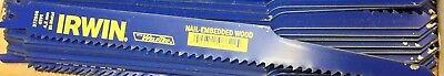 """LOT OF 10 Irwin 372956 Nail Embedded Wood Cutting Reciprocating Saw Blade - 9"""""""