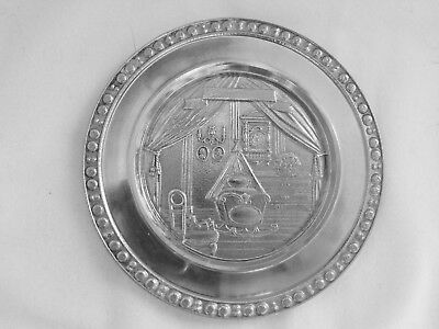 Mullingar Pewter Baby's Plate, Ireland, New, Nursery Scene, Signed, In Box, Mint