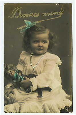 c 1906 Vintage Cute Little GIRL w/ DOLL tinted photo postcard