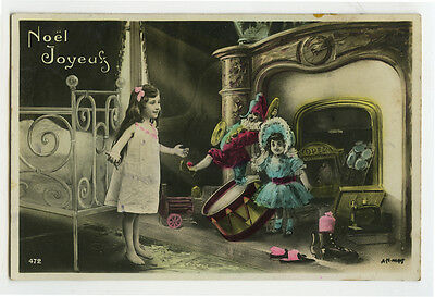 c 1907 Child Children Dreaming GIRL w/ SURREAL DOLL Toys  photo postcard