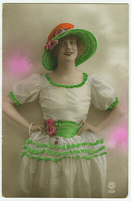 1920's French Deco FASHION BEAUTY tinted photo postcard