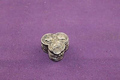 RARE Vintage Tiny Silver Three Section Pill Box Embossed with Roses