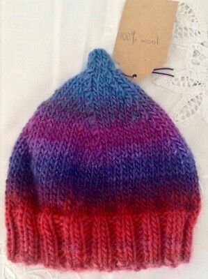 Hand Knitted Baby Beanie Hand Dyed Wool from Yarn Baa Victoria