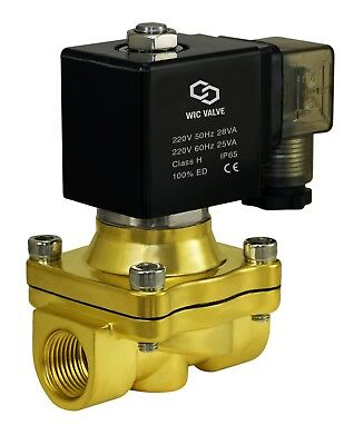 """1/2"""" Inch Brass Zero Differential Electric Air Gas Water Solenoid Valve 220V AC"""