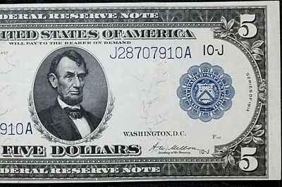 DH Fr 883a 1914 $5 Federal Reserve Note XF-AU