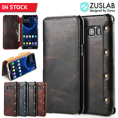 Galaxy S8 S8 Plus Case For Samsung ZUSLAB Genuine Leather Flip Wallet Cover
