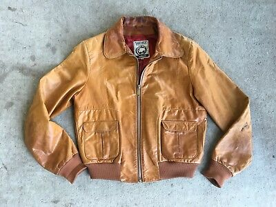 Vtg East West Leather Bomber-Style Jacket Late70s Early 80s Rock n Roll