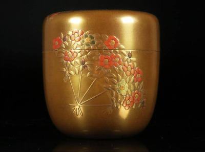 Natsume Sumiyoshi Maki-e Syunsai Singed Japanese Tea ceremony caddy w Box FS EMS