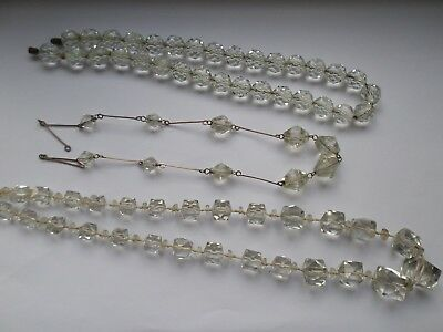3 vintage facet cut glass bead necklaces ALL FOR RE-STRINGING