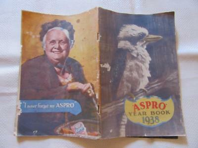 1938 Aspro Year Book with Aspro Advertising on the Bottom of Every Page 64 Pages