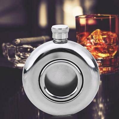 Round Semi-transparent Stainless Steel Whisky Hip Flask Camping Wine Bottle Pot