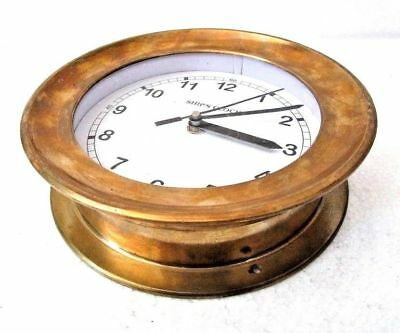 LARGE - SHIP'S CLOCK – Marine WALL Clock – BRASS -  NAUTICAL / BOAT (5007C)