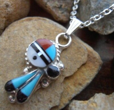 Sterling Silver 925 Zuni Sunface pendant Turquoise Onyx Coral MOP mosaic + chain