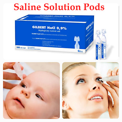 100 x 5 ml Sterile Saline Solution Pods NaCl 0,9% Nebulizer Nose Eye Lens Wash