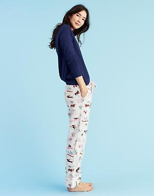 Joules Snooze Women's Pyjama Bottoms in 100% Cotton in Cream Skii Dog