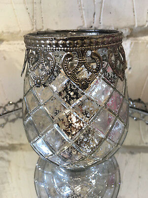 Mercury Candle Tea Light Holder Cut Glass Style Silver Hearts Decoration Band