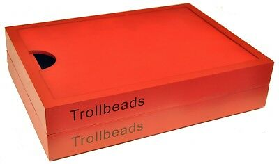 Authentic Trollbeads Red Wooden Jewellery Box - 90013-COM