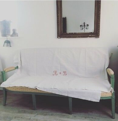Genuine French Hall Bench Sofa. Needs TLC. French Linen Sheet Included. 176cm W