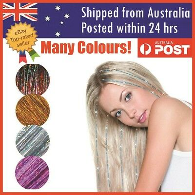 Holographic Glitter Tinsel Hair Extensions Sparkle Highlights Party 100 Strands