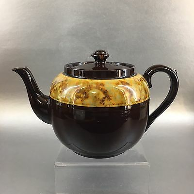 Antique Gibsons Yellow Brown Betty Teapot Pottery Vintage England Medium