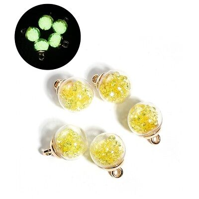 5 x Glass Bottle Glow in the Dark Charms Yellow Pendant Luminous