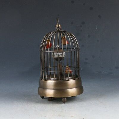 Old Cruated Copper Hand Made Birdcage Mechanical Clock