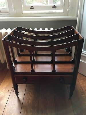 Antique Victorian mahogany Canterbury magazine music rack with drawer
