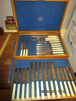 Antique Victorian J.Neal's Canteen of Cutlery.2 tier Wooden Cutlery box+contents