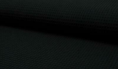 100% Cotton WAFFLE Honeycomb Pique Fabric Material - BLACK