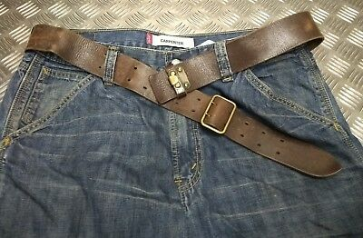 Genuine Vintage Military Issued Leather Trouser belt & Brass Double Prong Buckle